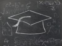 graduation cap draw on chalkboard